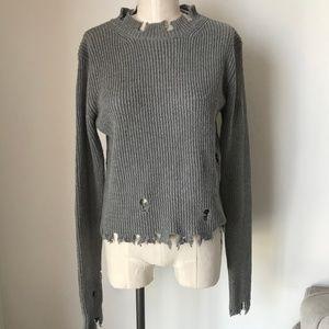 [LF] Distress Grey Knit Sweater Top